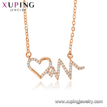 44465 Xuping new arrival women jewelry heart shaped rose gold plated pendant necklace with zircon